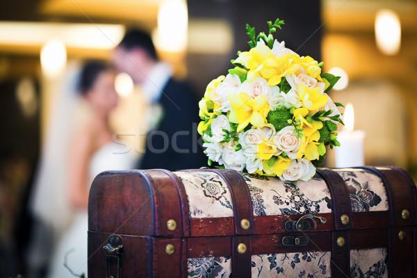 Wedding bouquet with bride and groom Stock photo © pixachi