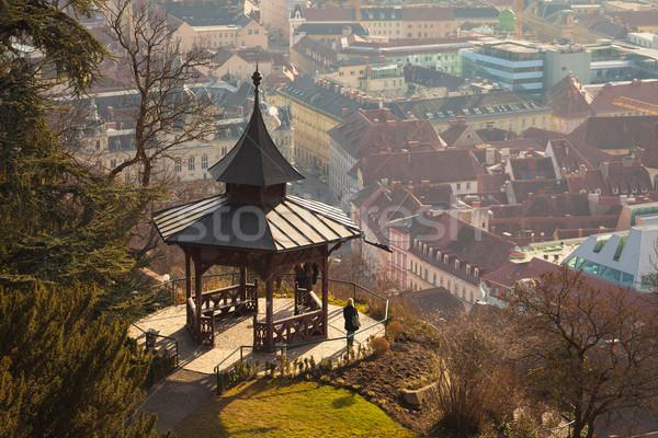View of gazebo on Schlossberg hill on top of Graz city Stock photo © pixachi