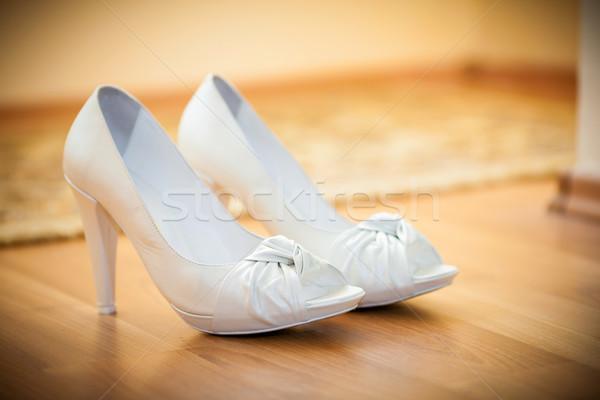 невест белый обувь полу красоту невеста Сток-фото © pixachi