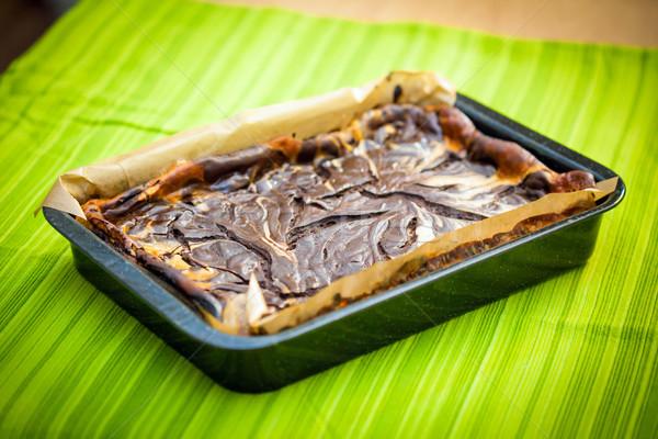 Fresh baked marble cheese cake with chocolate Stock photo © pixachi
