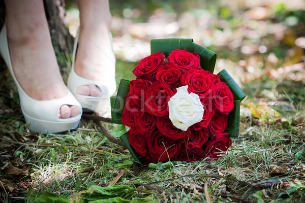 Bride shoes with wedding bouquet Stock photo © pixachi