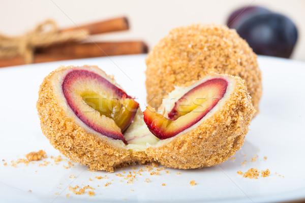 Delicious sweet plum dumplings Stock photo © pixachi