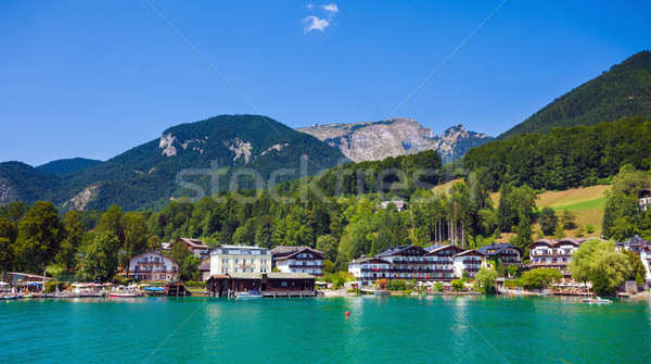 View of St. Wolfgang waterfront village Stock photo © pixachi