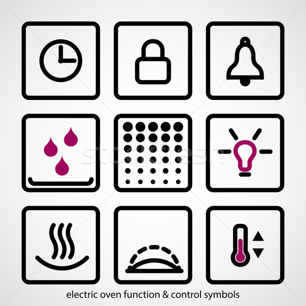 Electric oven function & control symbols Stock photo © pixachi