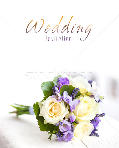Ramo de la boda amarillo rosas lavanda flores flor Foto stock © pixachi