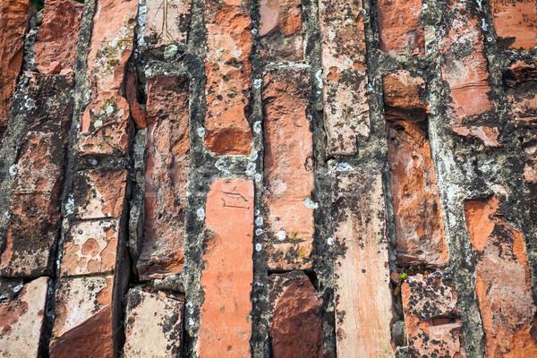 Oude gebarsten bakstenen muur textuur straat Stockfoto © pixachi