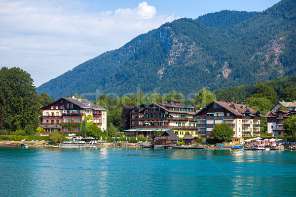 Typical Guests House on Wolfgang See lake shore, Sankt Wolfgang Stock photo © pixachi