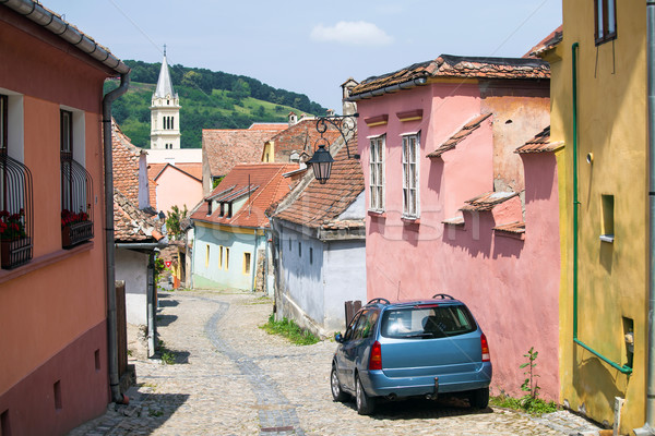 Old paved stone street with colored houses from Old Turda  Stock photo © pixachi