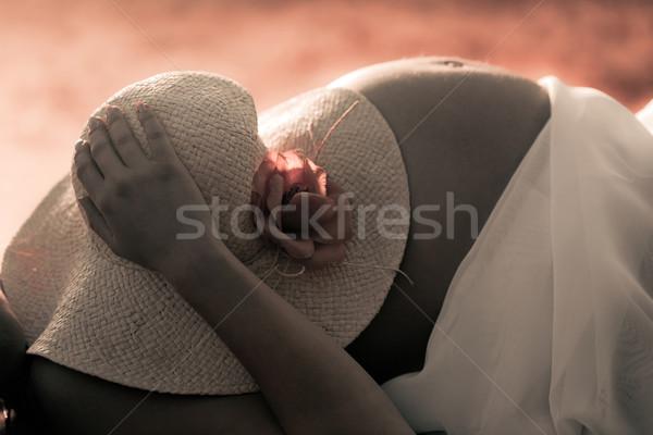 Halten hat top Hand Baby Stock foto © pixachi