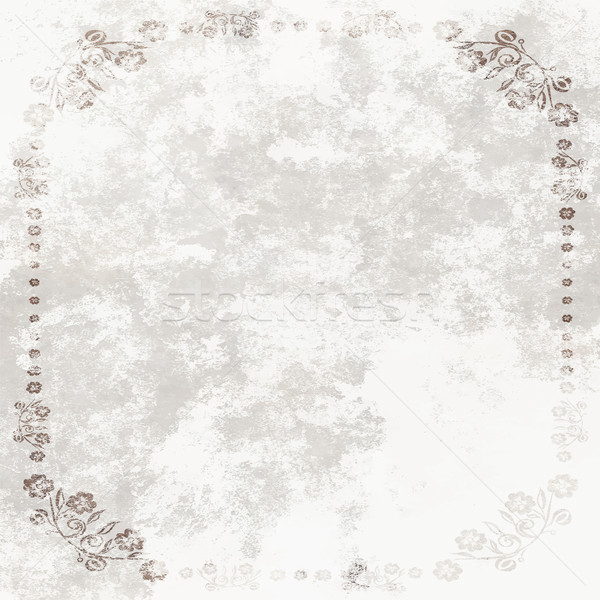 Grundge White Sheet of paper with floral frame Stock photo © pixachi