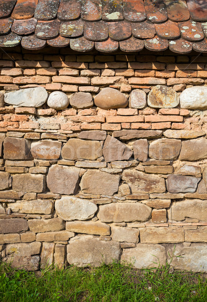 Stock photo: Rustic wall with layers of different comstruction materials