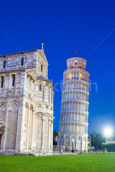 Pisa, Piazza del Duomo, with the Basilica leaning tower at dawn Stock photo © pixachi