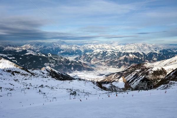 Sí üdülőhely csúcs nap hó hegy Stock fotó © pixachi