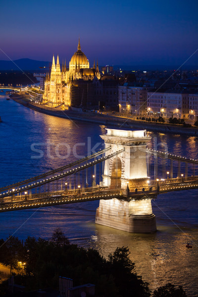 Budapest cityscape sunset with Chain Bridge in front over Danube Stock photo © pixachi