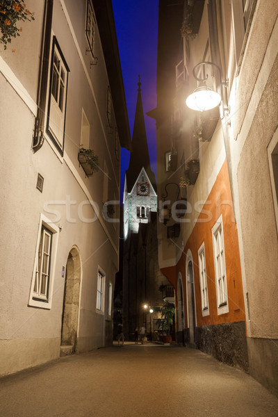 Photo stock: Nuit · vue · rue · église · cloche · tour