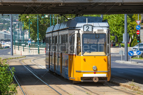 Yellow tram under Elisabeth Bridge in Budapest Stock photo © pixachi