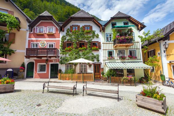 красочный домах деревне квадратный цветок облака Сток-фото © pixachi