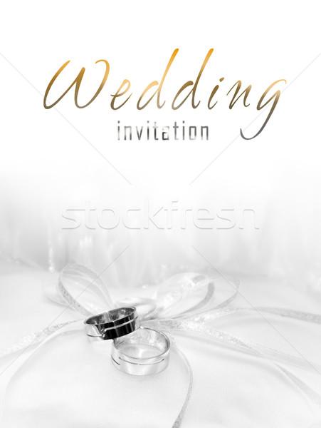 Weiß Gold Trauringe Einladung Hochzeit Liebe Stock foto © pixachi