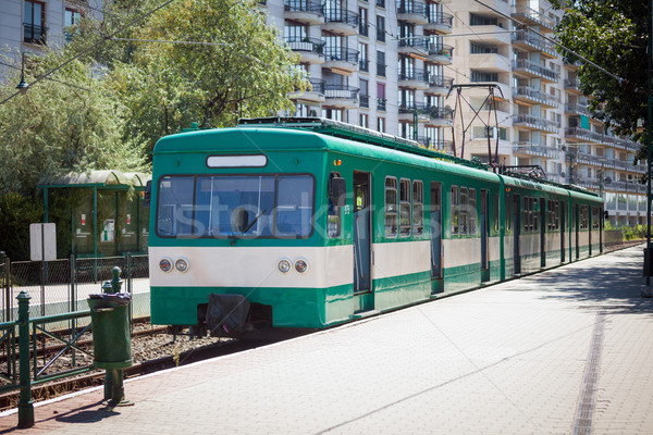 Green suburb train waiting on a staition in Budapest Stock photo © pixachi