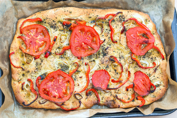 Delicious fresh traditional Italian focaccia bread Stock photo © pixachi