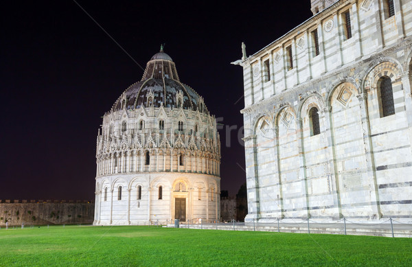Pisa, Piazza del Duomo with Battistero, Basilica and the leaning Stock photo © pixachi