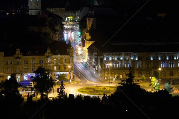Verlicht nacht straat Roemenië kerk Stockfoto © pixachi
