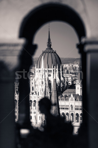 View of Hungarian Parliament Building with customers at Buda Cas Stock photo © pixachi