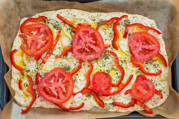 Delicious fresh traditional Italian focaccia bread uncooked Stock photo © pixachi