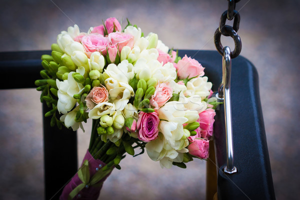 Wedding bouquet on rustic country fence  Stock photo © pixachi