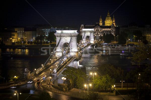 Catena ponte danubio fiume Budapest cityscape Foto d'archivio © pixachi