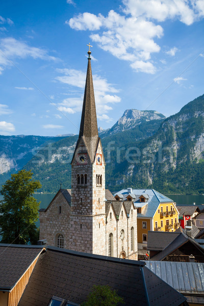 View of Hallstatt Christuskirche church bell tower Stock photo © pixachi