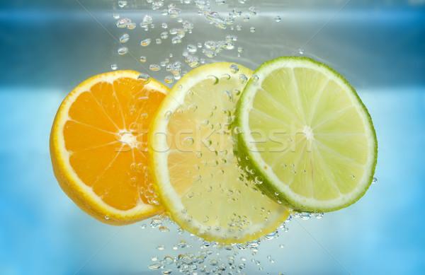Cítrico fatia água tangerina cal limão Foto stock © pixelman