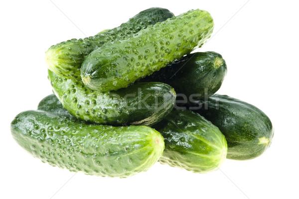 Pepinos isolado branco comida fundo verde Foto stock © pixelman