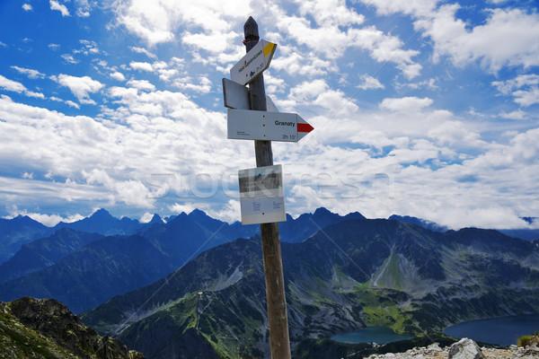 Panorama montanha poste de sinalização paisagem rocha Foto stock © pixelman