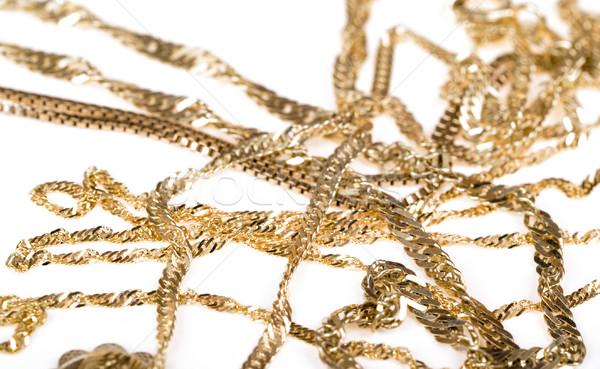 Arany lánc közelkép izolált fehér lánc Stock fotó © pixelman