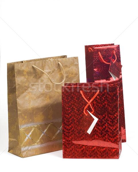 Presenta bolsa rojo color regalo Foto stock © pixelman
