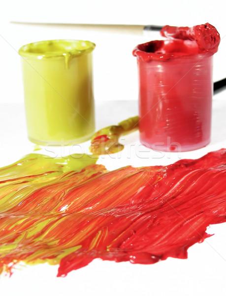Peinture rouge jaune fond couleur brosse Photo stock © pixelman
