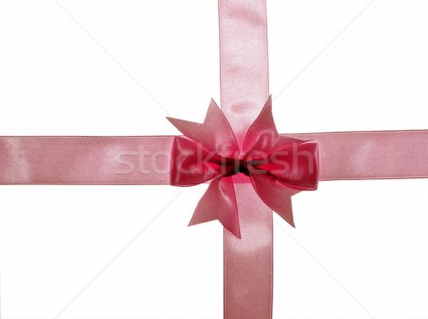 Ruban isolé blanche croix cadeau rose Photo stock © pixelman