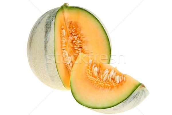 Melone grande taglio giallo isolato bianco Foto d'archivio © pixelman