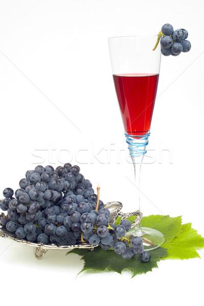 De uva vino aislado hoja vidrio beber Foto stock © pixelman