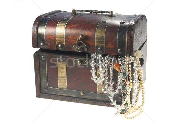 Antique décoration boîte bois or cadeau Photo stock © pixelman