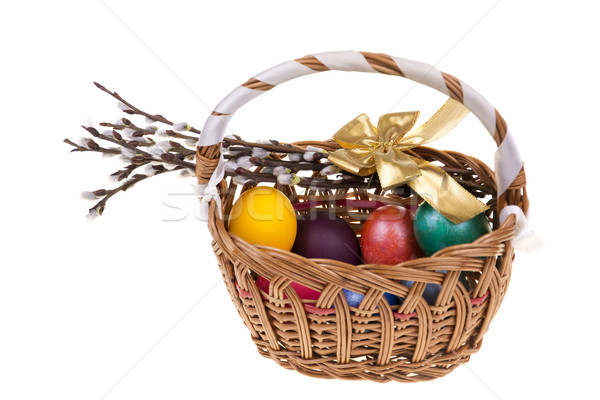 Easter palm catkins and basket with Easter eggs isolated on white background Stock photo © pixelman