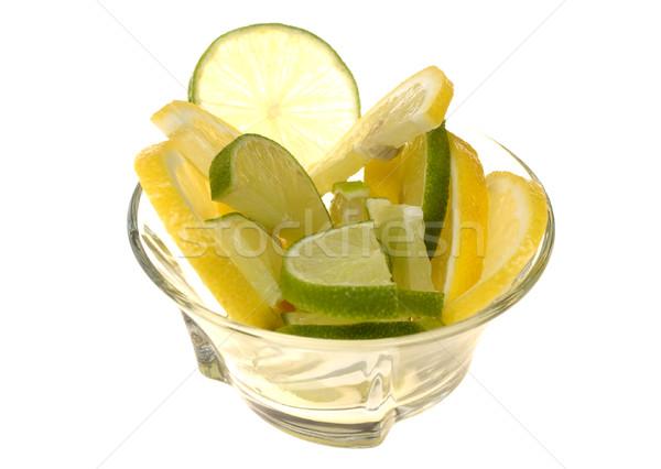 Limão cal fatias vidro copo isolado Foto stock © pixelman