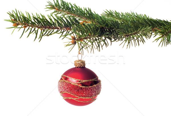 Noël verre balle arbre de noël isolé fond Photo stock © pixelman