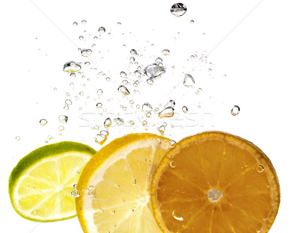 Cítrico salpico fatia água comida frutas Foto stock © pixelman