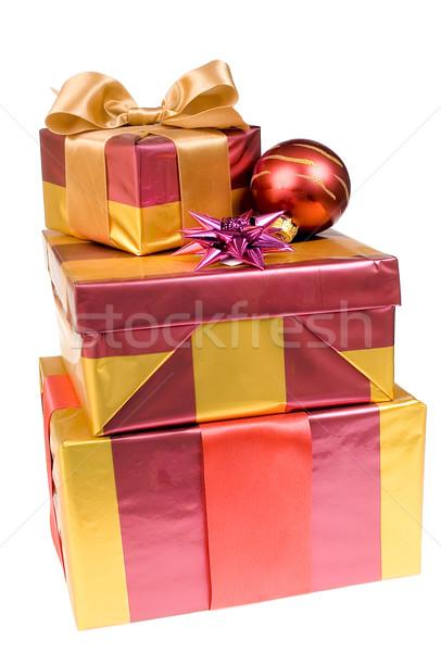Noël cadeaux verre balle isolé Photo stock © pixelman