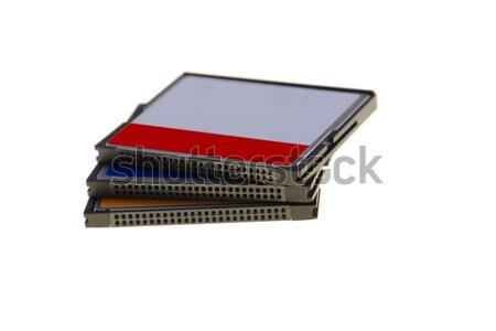 Három emlék kártya izolált fehér számítógép Stock fotó © pixelman