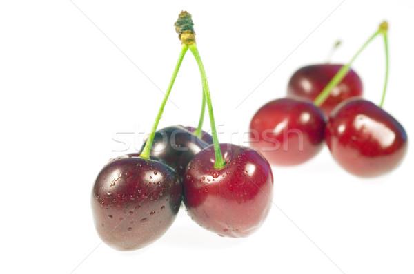 Cereza mojado agua naturaleza frutas rojo Foto stock © pixelman