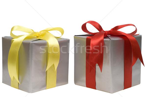 Natal presentes branco aniversário verde vermelho Foto stock © pixelman