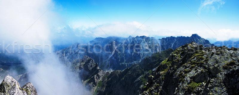 üst çim dağ yaz kaya göl Stok fotoğraf © pixelman